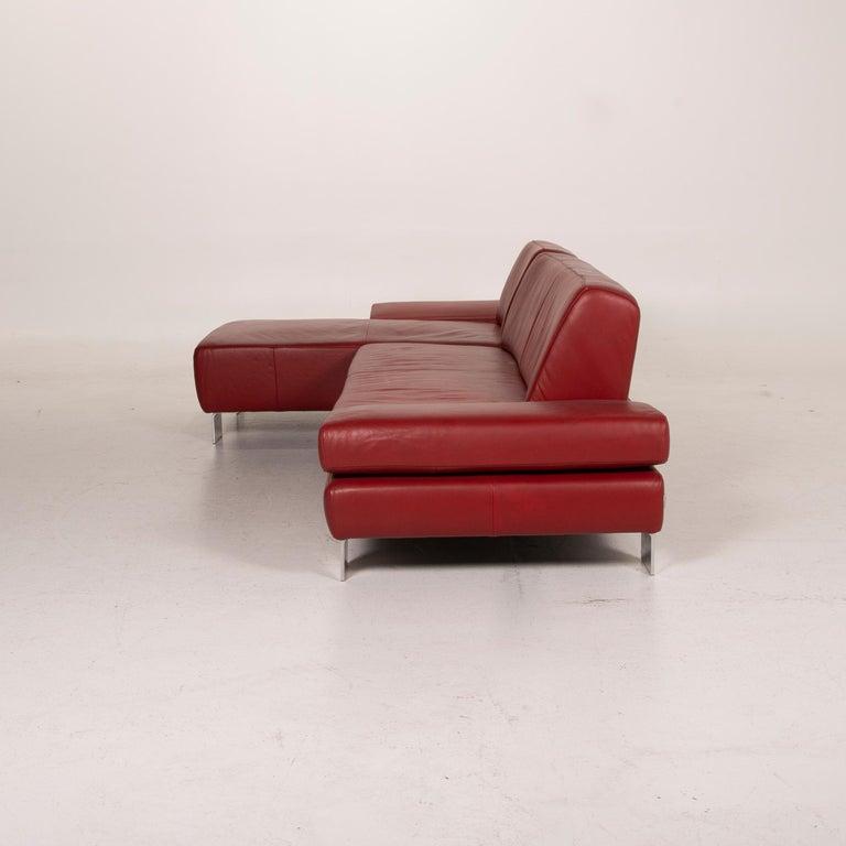 Willi Schillig Leather Sofa Red Corner Sofa For Sale 7