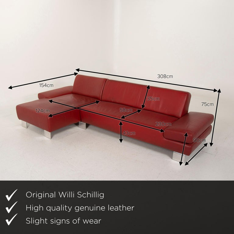 We present to you a Willi Schillig leather sofa red corner sofa.    Product measurements in centimeters:    Depth 154 Width 308 Height 75 Seat height 43 Rest height 48 Seat depth 124 Seat width 230 Back height 35.