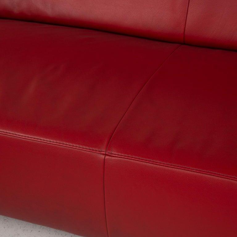 Modern Willi Schillig Leather Sofa Red Corner Sofa For Sale