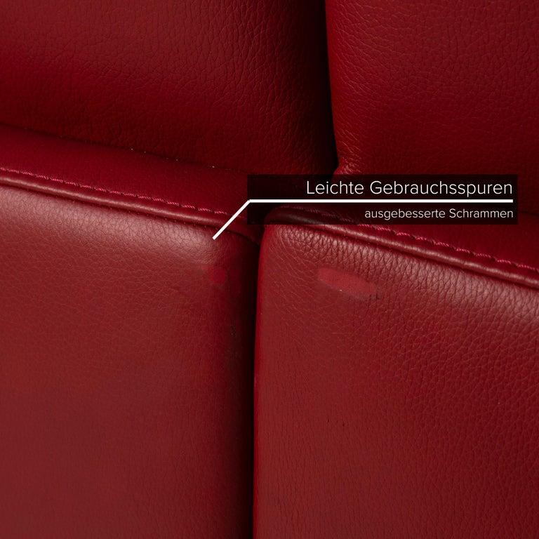 German Willi Schillig Leather Sofa Red Corner Sofa For Sale