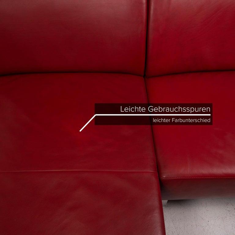 Willi Schillig Leather Sofa Red Corner Sofa In Good Condition For Sale In Cologne, DE
