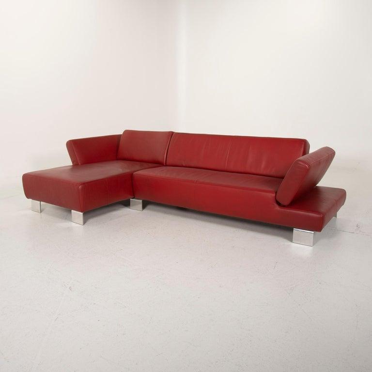 Willi Schillig Leather Sofa Red Corner Sofa For Sale 2
