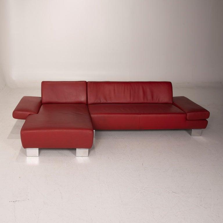 Willi Schillig Leather Sofa Red Corner Sofa For Sale 3
