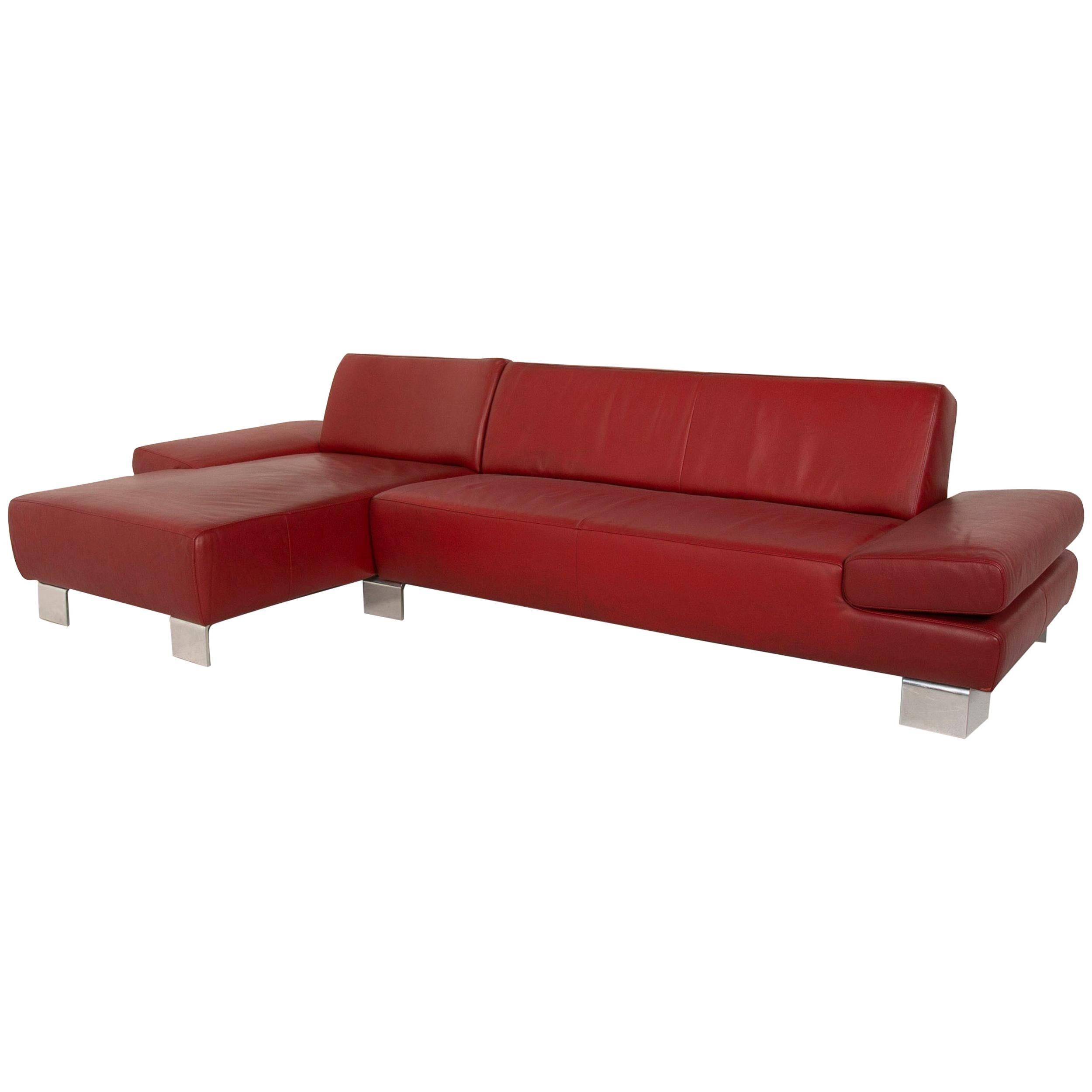 Willi Schillig Leather Sofa Red Corner Sofa