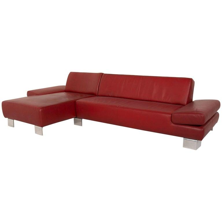 Willi Schillig Leather Sofa Red Corner Sofa For Sale