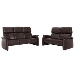 Willi Schillig Leather Sofa Set Brown Dark Brown 1x Three-Seater 1x Two-Seater