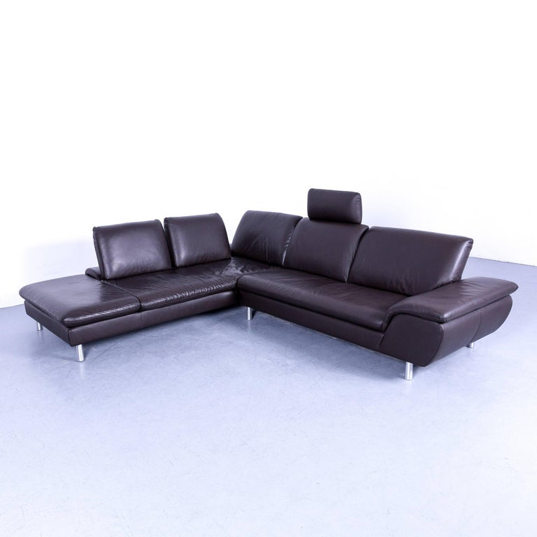 Willi Schillig Loop Designer Corner Sofa With Black Leather Function Modern In A Minimalistic And