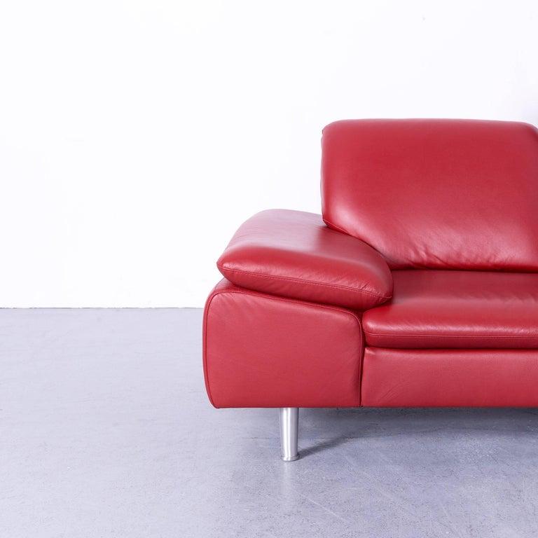 Willi Schillig Loop Designer Corner Sofa Leather Red Function Couch