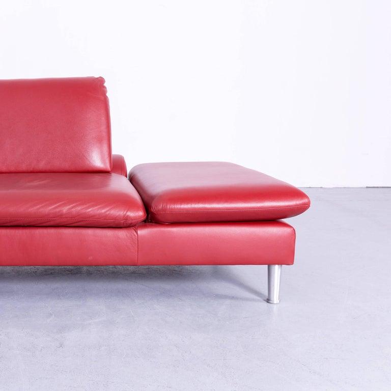willi schillig loop designer corner sofa leather red function couch at 1stdibs. Black Bedroom Furniture Sets. Home Design Ideas