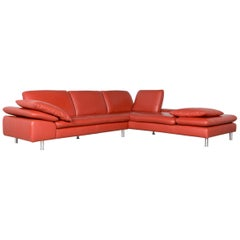 Willi Schillig Loop Designer Corner Sofa Orange Leather Function Couch Modern