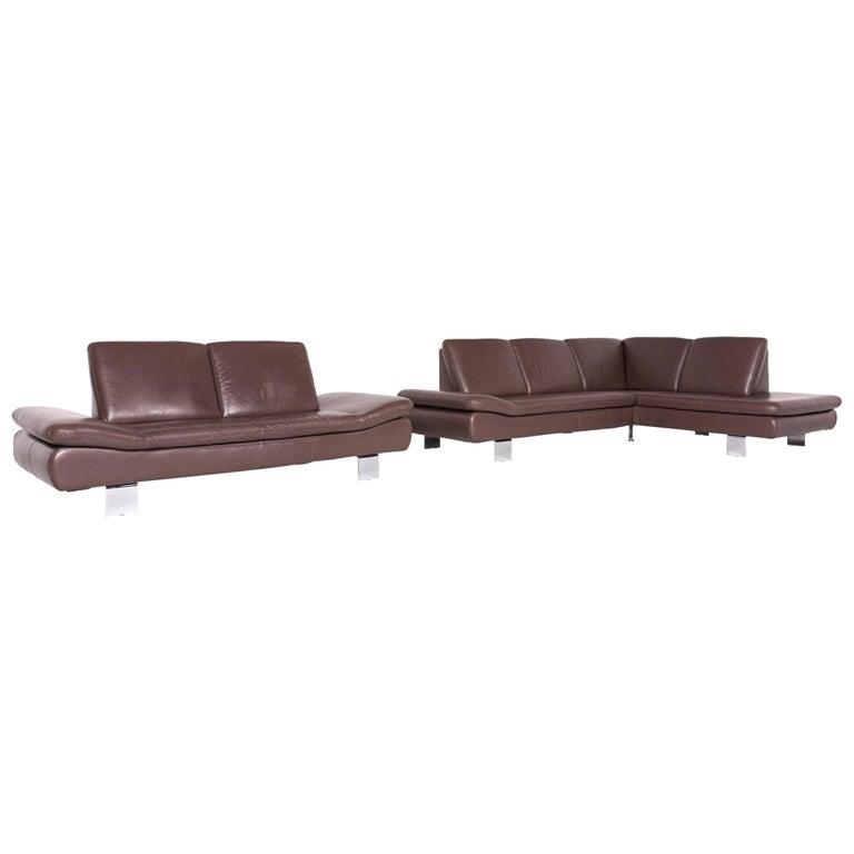 Willi Schillig Lucca Designer Leather Sofa Set Brown Three-Seat Two-Seat