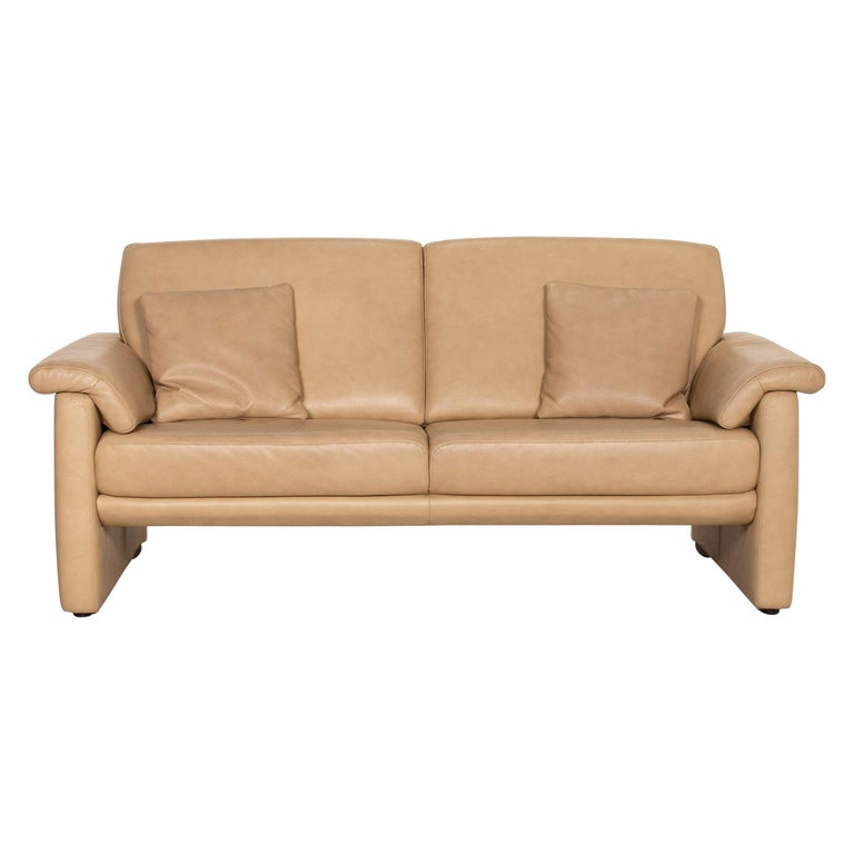 Willi Schillig Lucca Leather Sofa Beige Two-Seat Couch For Sale