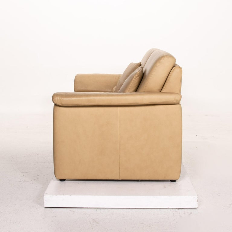 Willi Schillig Lucca Leather Sofa Beige Two-Seat Couch For Sale 4