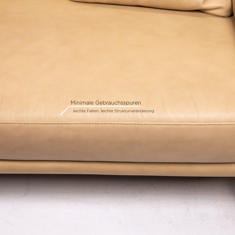 German Willi Schillig Lucca Leather Sofa Beige Two-Seat Couch For Sale