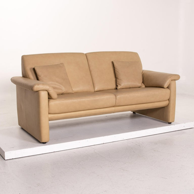 Contemporary Willi Schillig Lucca Leather Sofa Beige Two-Seat Couch For Sale
