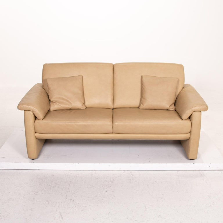 Willi Schillig Lucca Leather Sofa Beige Two-Seat Couch For Sale 1