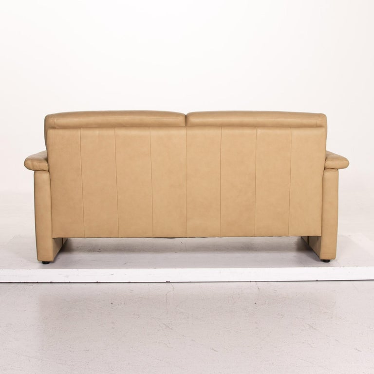 Willi Schillig Lucca Leather Sofa Beige Two-Seat Couch For Sale 3