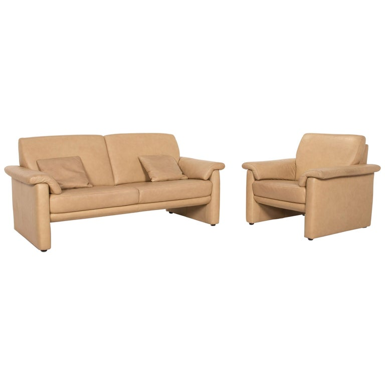 Willi Schillig Lucca Leather Sofa Set Beige 1 Two-Seat 1 Armchair For Sale
