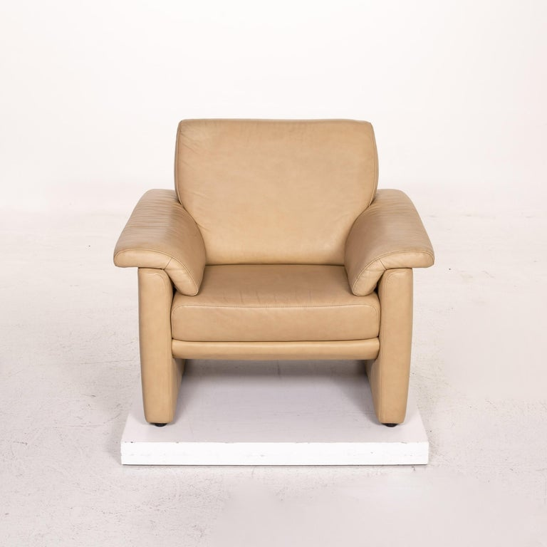 Willi Schillig Lucca Leather Sofa Set Beige 1 Two-Seat 1 Armchair For Sale 4