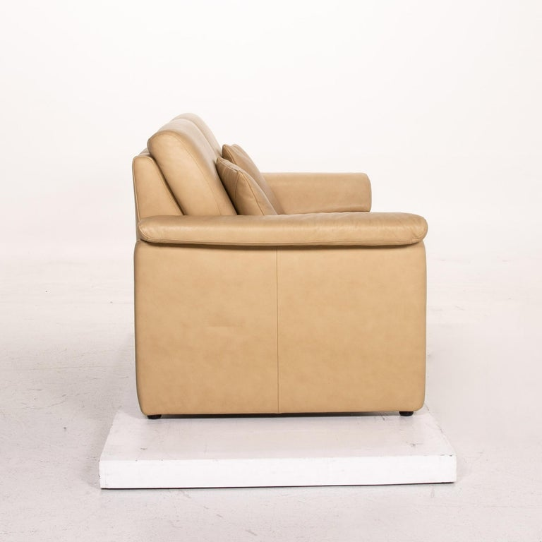 Willi Schillig Lucca Leather Sofa Set Beige 1 Two-Seat 1 Armchair For Sale 7