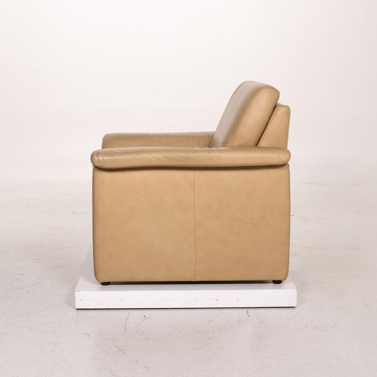 Willi Schillig Lucca Leather Sofa Set Beige 1 Two-Seat 1 Armchair For Sale 10