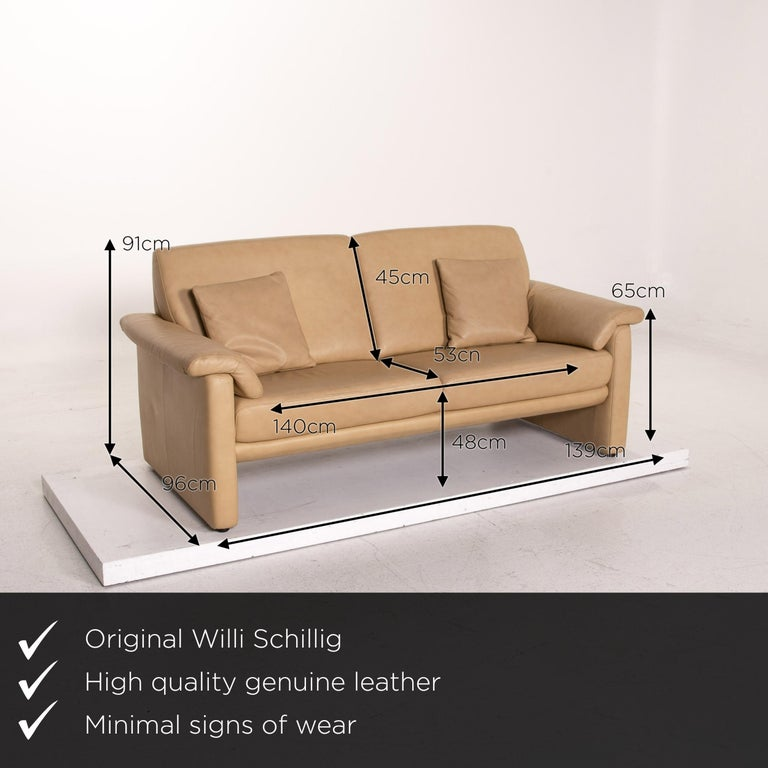 We present to you a Willi Schillig Lucca leather sofa set beige 1x two-seat 1x armchair.  Product measurements in centimeters:  Depth 96 Width 139 Height 91 Seat height 48 Rest height 65 Seat depth 53 Seat width 140 Back height