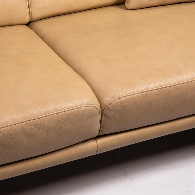 German Willi Schillig Lucca Leather Sofa Set Beige 1 Two-Seat 1 Armchair For Sale