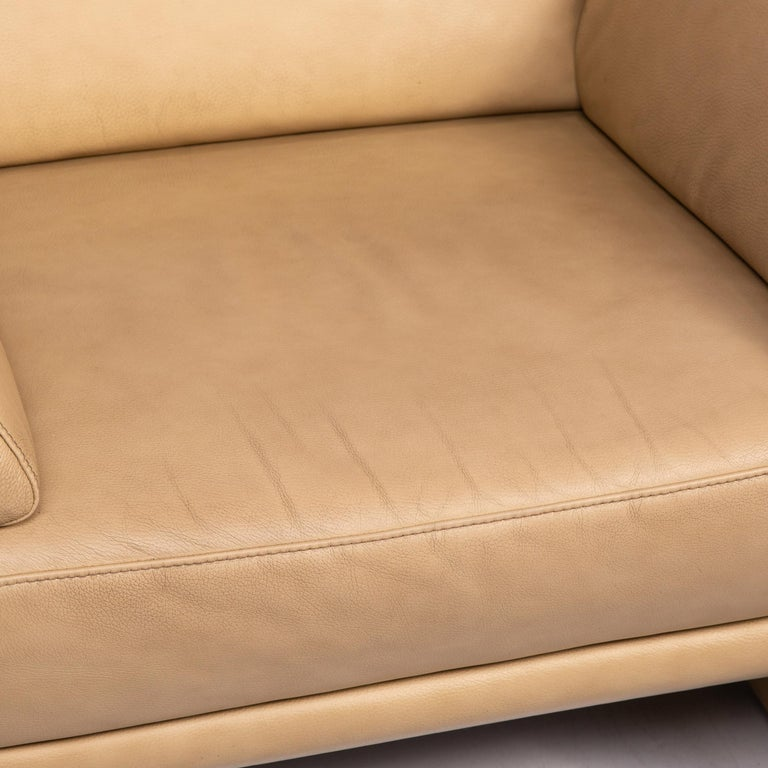 Willi Schillig Lucca Leather Sofa Set Beige 1 Two-Seat 1 Armchair In Good Condition For Sale In Cologne, DE