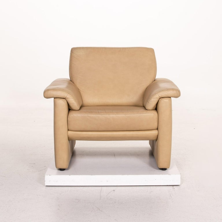 Willi Schillig Lucca Leather Sofa Set Beige 1 Two-Seat 1 Armchair For Sale 2