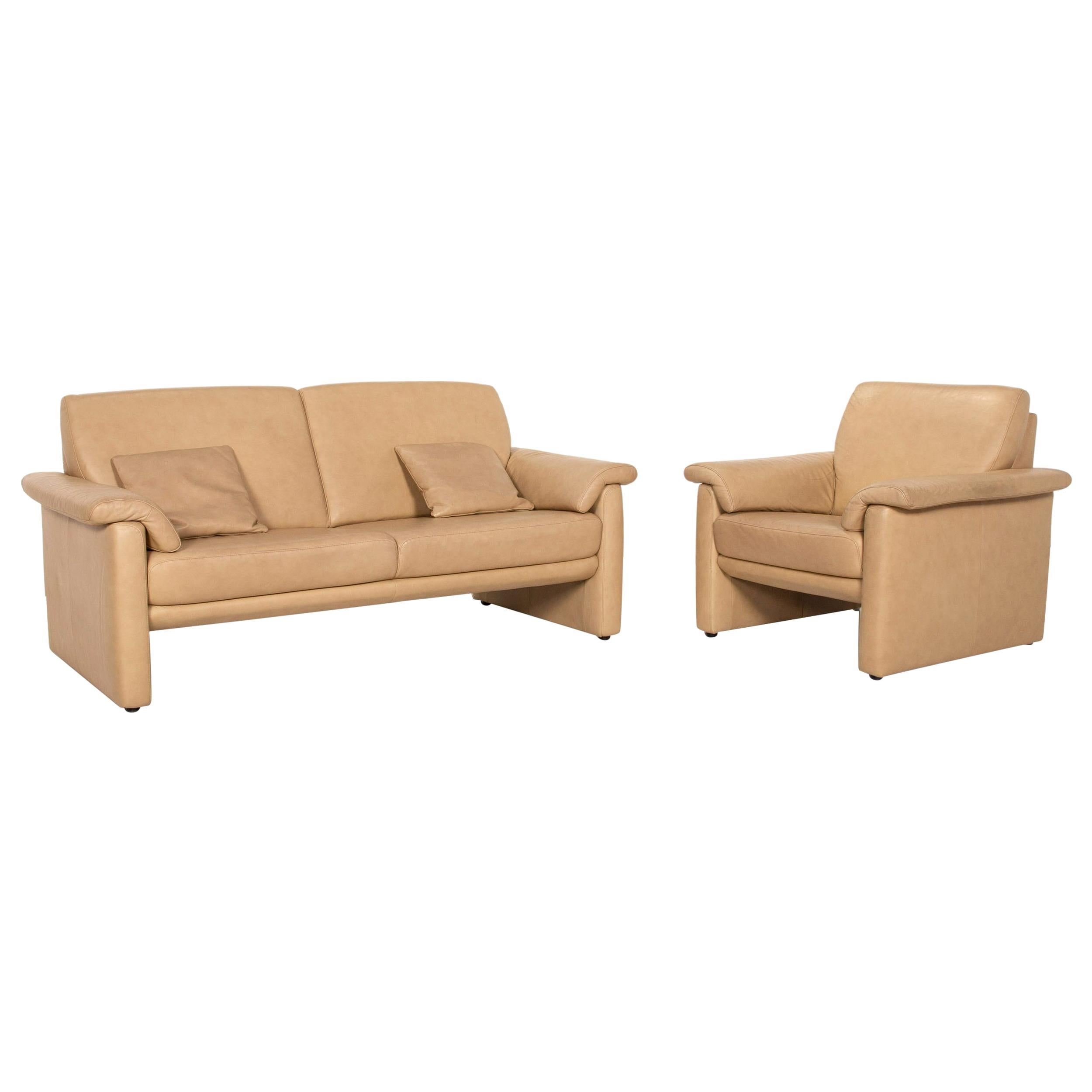 Willi Schillig Lucca Leather Sofa Set Beige 1x Two-Seater 1x Armchair