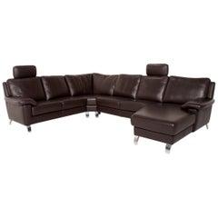 Willi Schillig Matrix Leather Corner Sofa Brown Dark Brown Sofa Couch