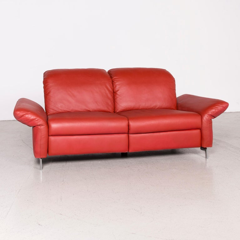 Willi Schillig Siena Designer Leather Sofa Red Real Leather Dreisityer Couch