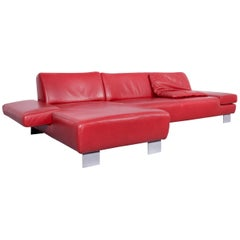 Willi Schillig Taboo Designer Leather Sofa Red Corner-Sofa Couch