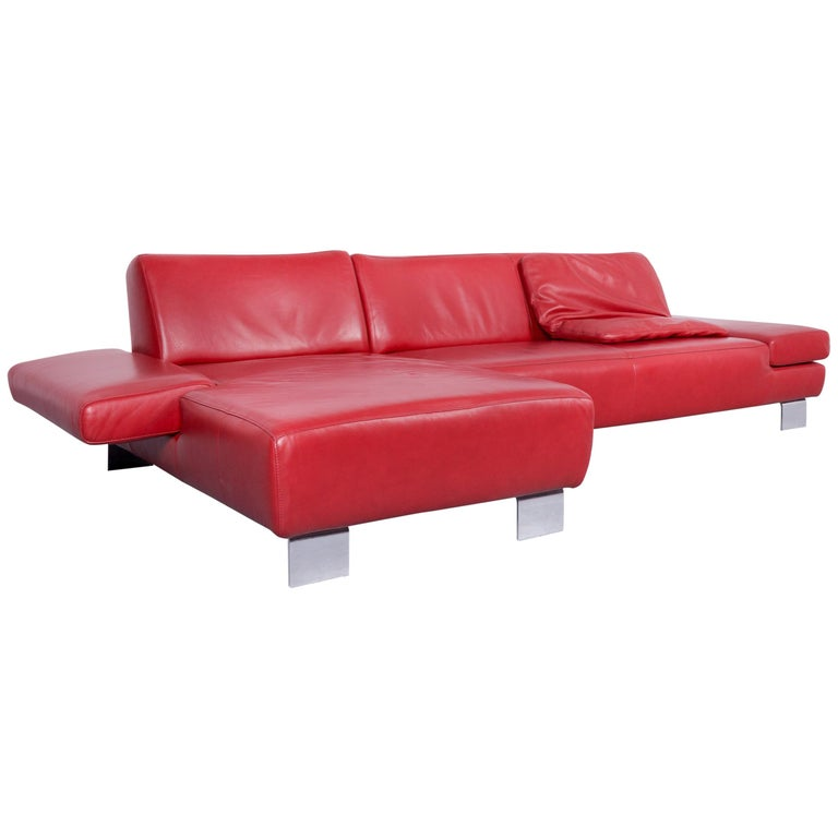 Willi Schillig Taboo Designer Leather Sofa Red Corner Couch For Sale