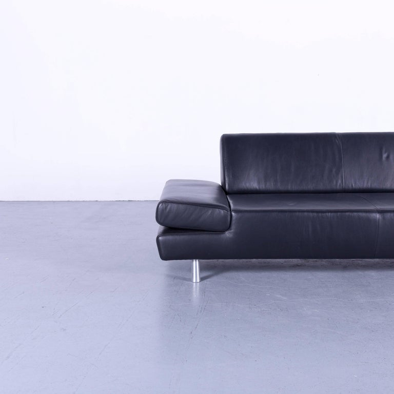 Willi Schillig Taboo Leather Sofa Black Three-Seat Couch at 1stdibs
