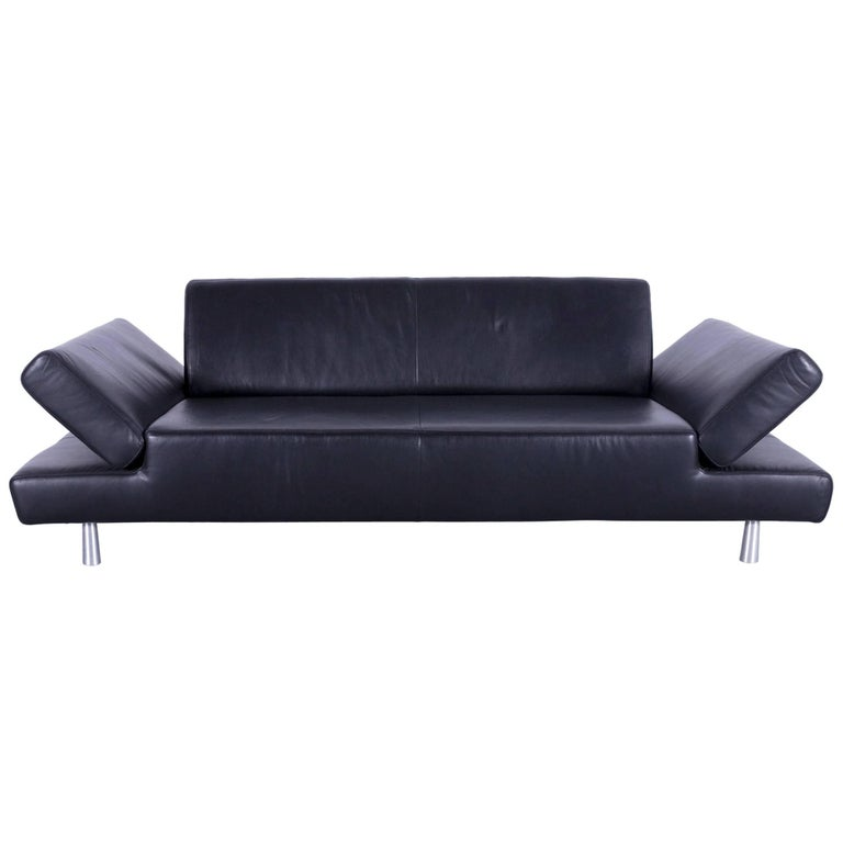 Willi Schillig Taboo Leather Sofa Black Three Seat Couch For Sale