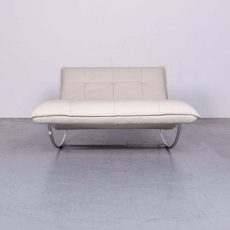 German Willi Schillig Woow Designer Leather Couch in Crème