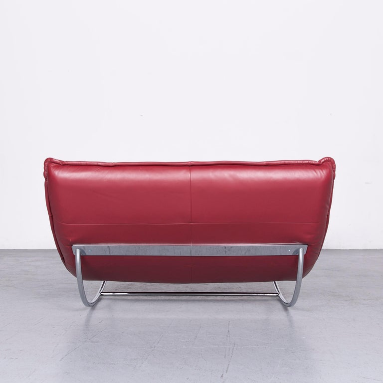 Willi Schillig Woow Designer Leather Couch in Red 4
