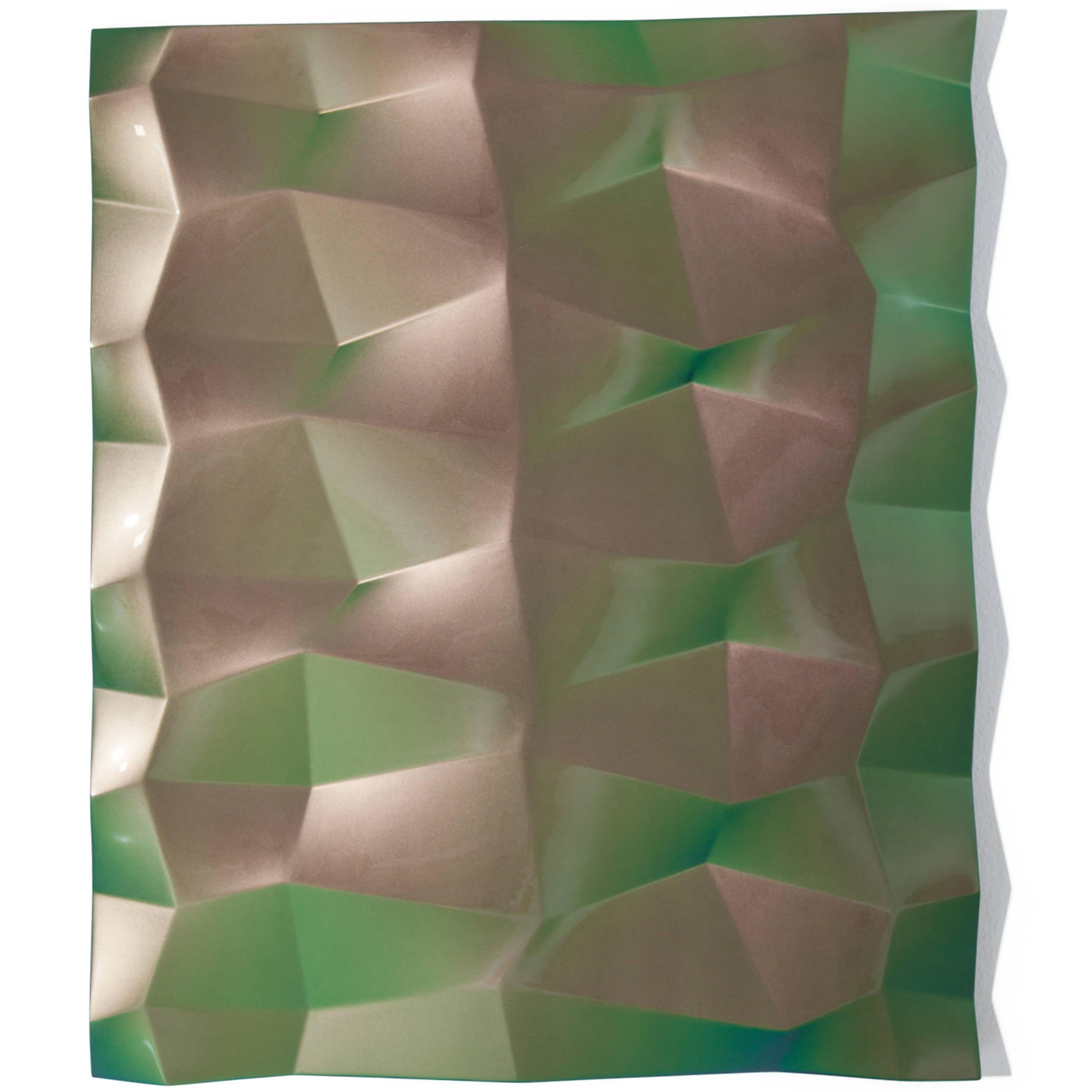 Panel Object (green/violet), Willi Siber, Abstract Wall Art, Lacquer 2019
