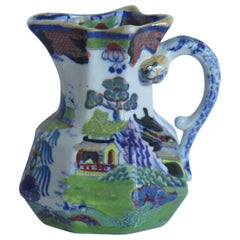 William 1vth Mason's Jug or Pitcher in Willow and House Pattern, circa 1830