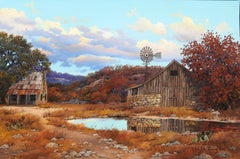 """Barn and Windmill"", W.A. Slaughter, Original Landscape, Oil on Canvas, 24x36 in"