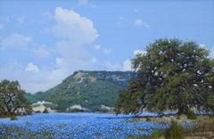 """""""Bluebonnet Landscape"""", W.A. Slaughter, 24x36, Original Oil on Canvas, Texas"""