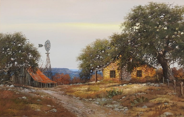 """William A. Slaughter Landscape Painting - """"Stone House & Windmill"""", W.A. Slaughter, Original, Oil on Canvas, 24x36 in."""