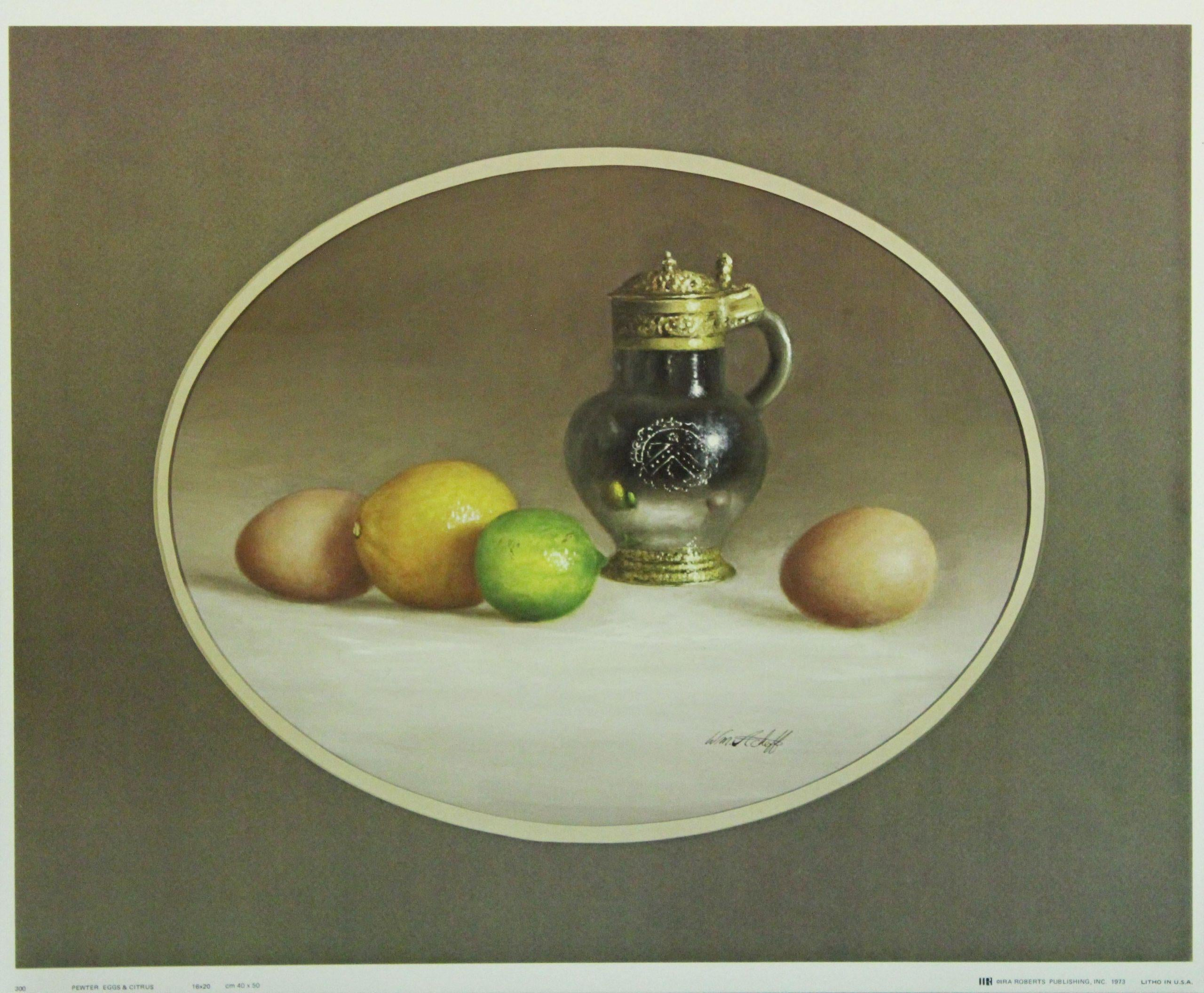 Pewter Eggs & Citrus-Print. IRA Roberts Publishing, Inc. 1973.