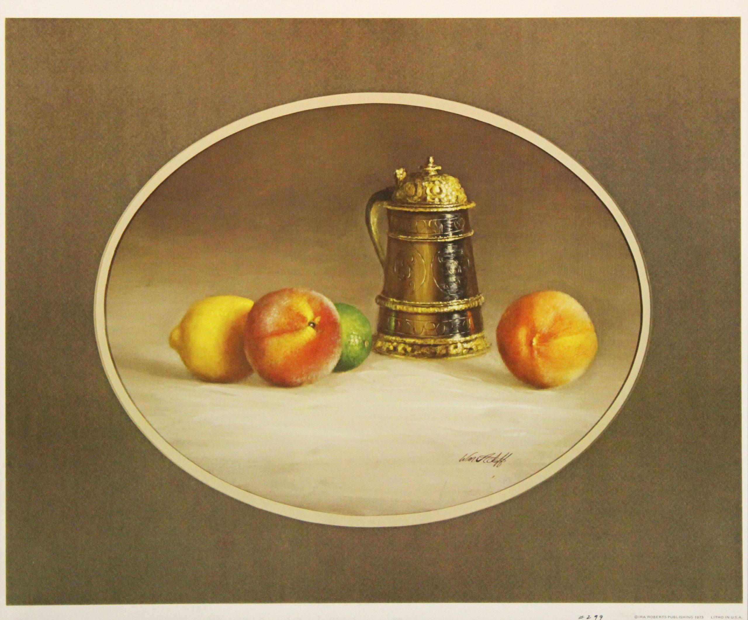 Stein & Fruit-Print. Copyright IRA Roberts Publishing 1973. Lithographed in USA