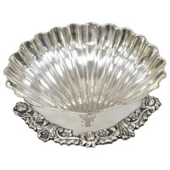 William Adams England Antique Silver Plate Clam Shell Form Footed Candy Dish
