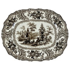 William Adams IV & Son Black Fountain Scenery Staffordshire Transferware Platter
