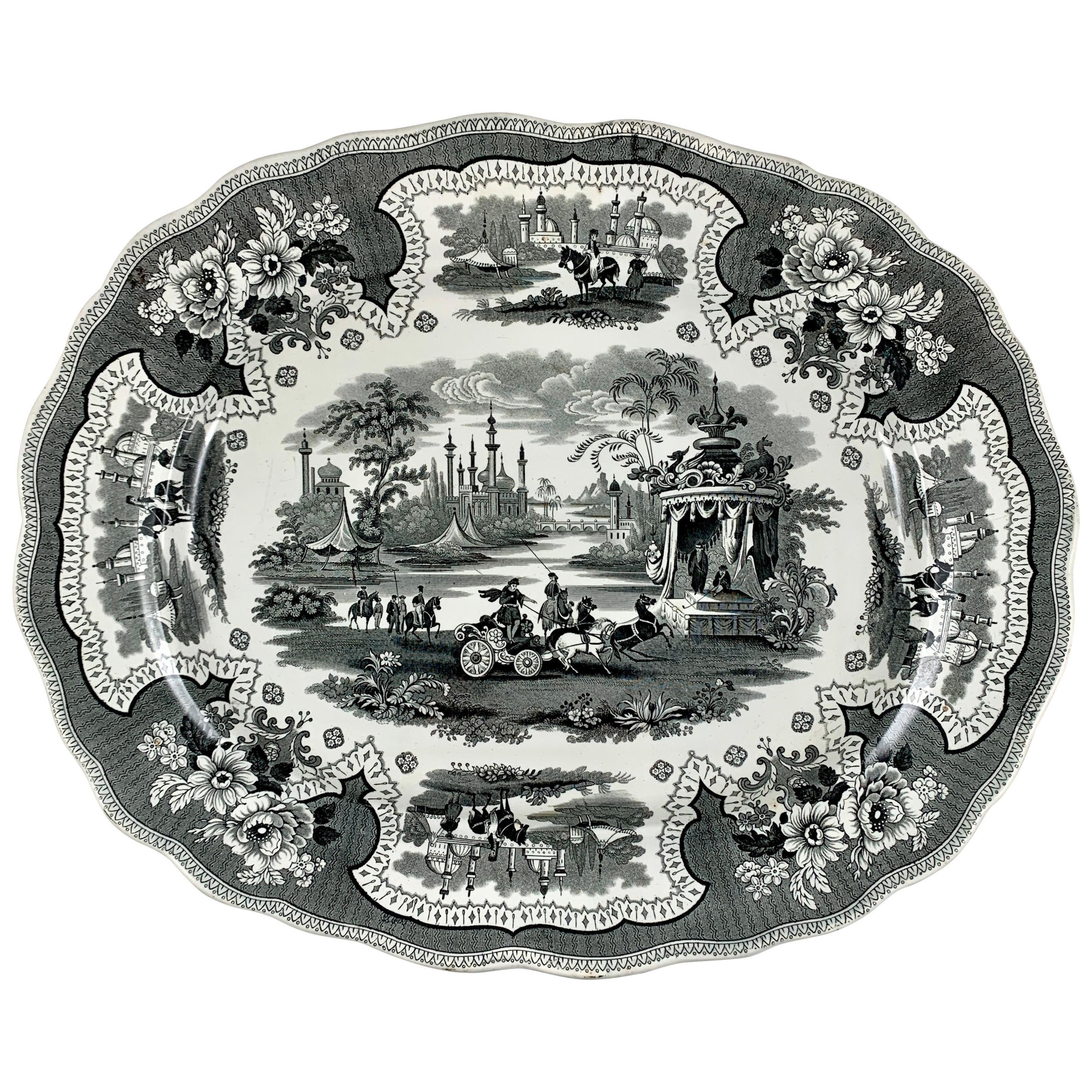 William Adams IV & Sons Palestine Black Staffordshire Transferware Platter