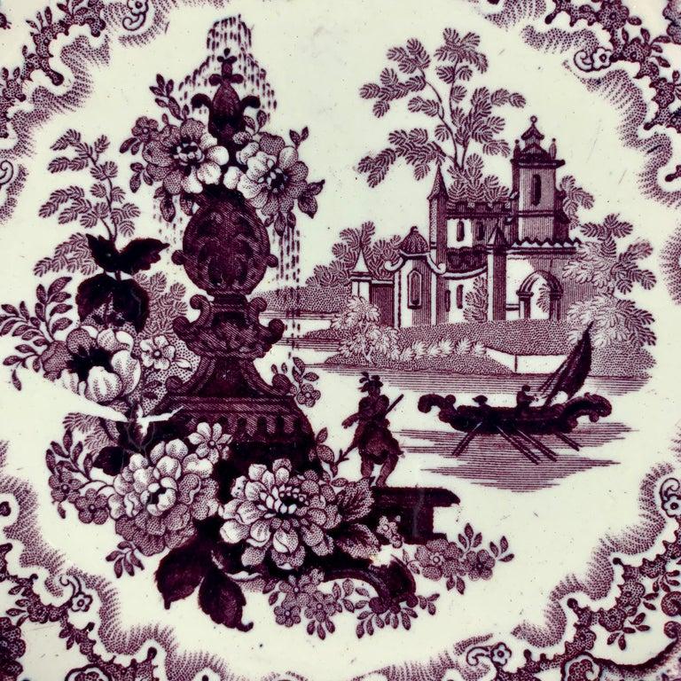 Chinoiserie William Adams IV & Sons Purple Fountain Scenery Staffordshire Transferware Plate For Sale
