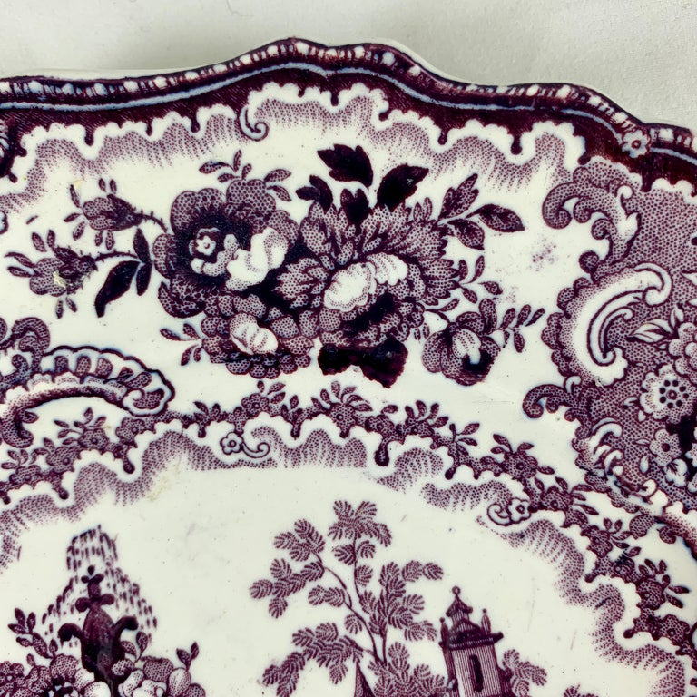 English William Adams IV & Sons Purple Fountain Scenery Staffordshire Transferware Plate For Sale